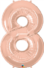 Number 8 Rose Gold Super Shape Number Foil Balloon